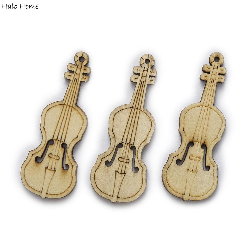 20 piezas Tema del violonchelo Chips de madera para Scrapbooking adornos fiesta de boda DIY accesorios hechos a mano botones de decoración 55x20mm