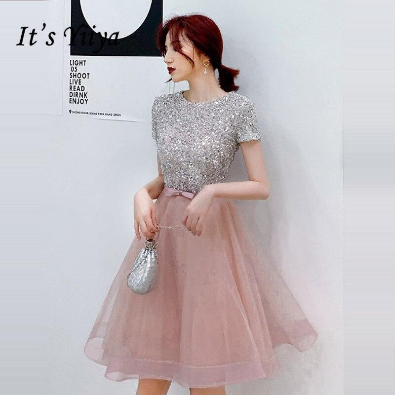 Vestidos de graduación Its Yiiya, vestidos cortos elegantes de lentejuelas, vestidos de gala con cuello redondo, Vestido de manga corta hasta la rodilla, vestido de fiesta de noche para mujer LF057