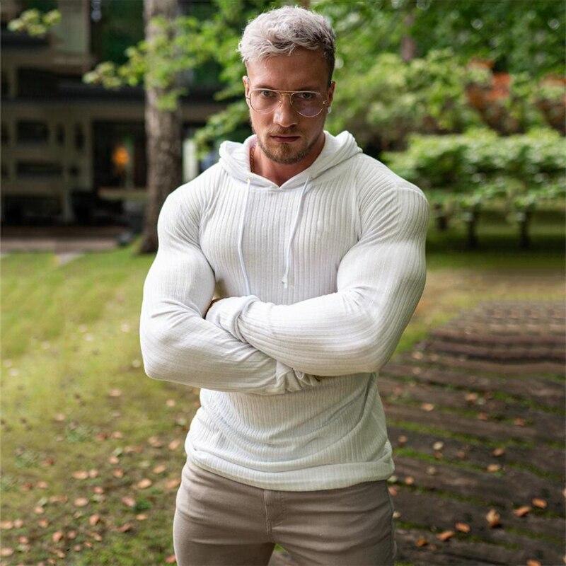 Nova moda inverno com capuz camisola masculina quente gola alta dos homens suéteres fino ajuste pulôver masculino clássico sweter malhas puxar homme