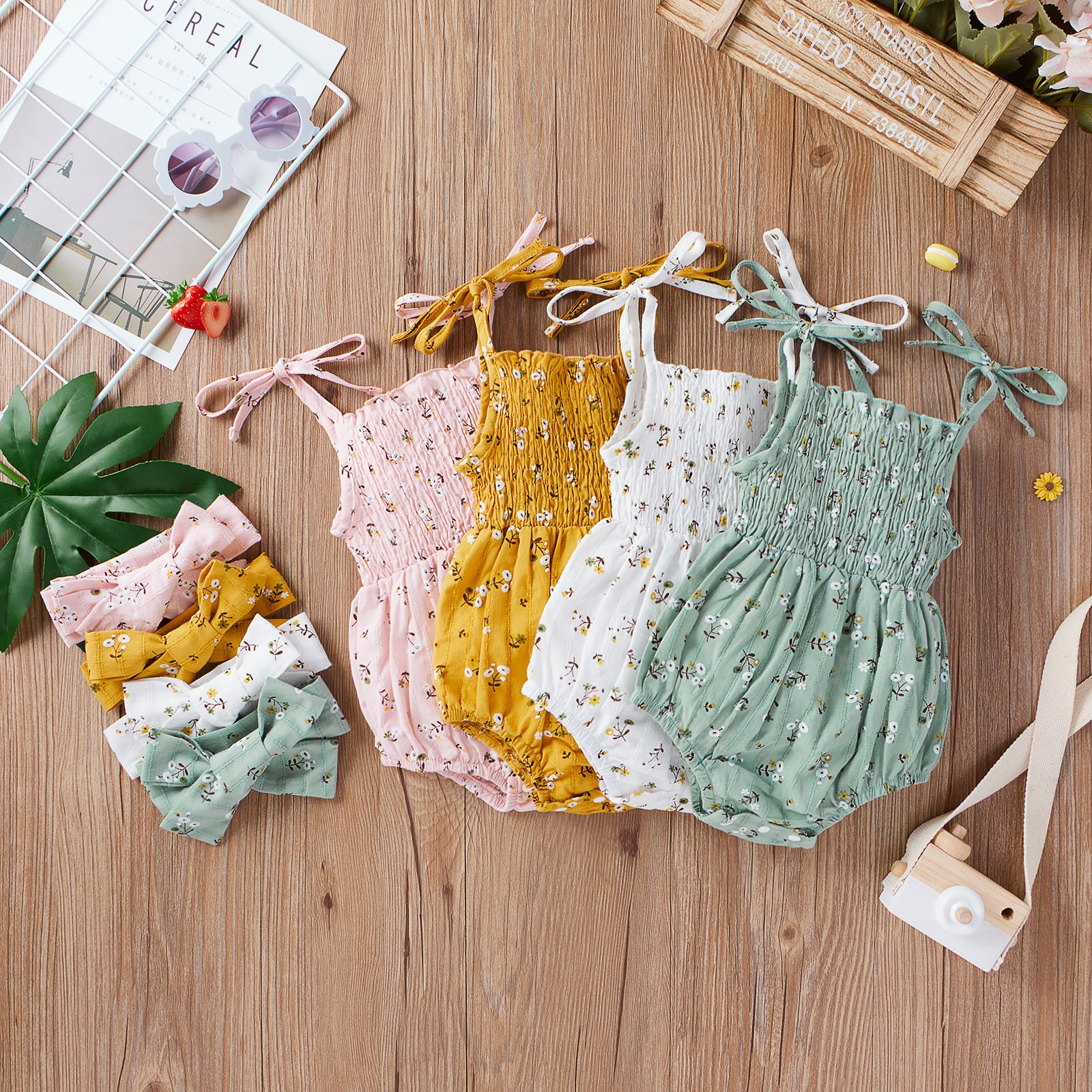 Infant Baby Floral Printed Sleeveless Romper Bodysuit Bowtie Headband Outfit vetement fille ropa ni�