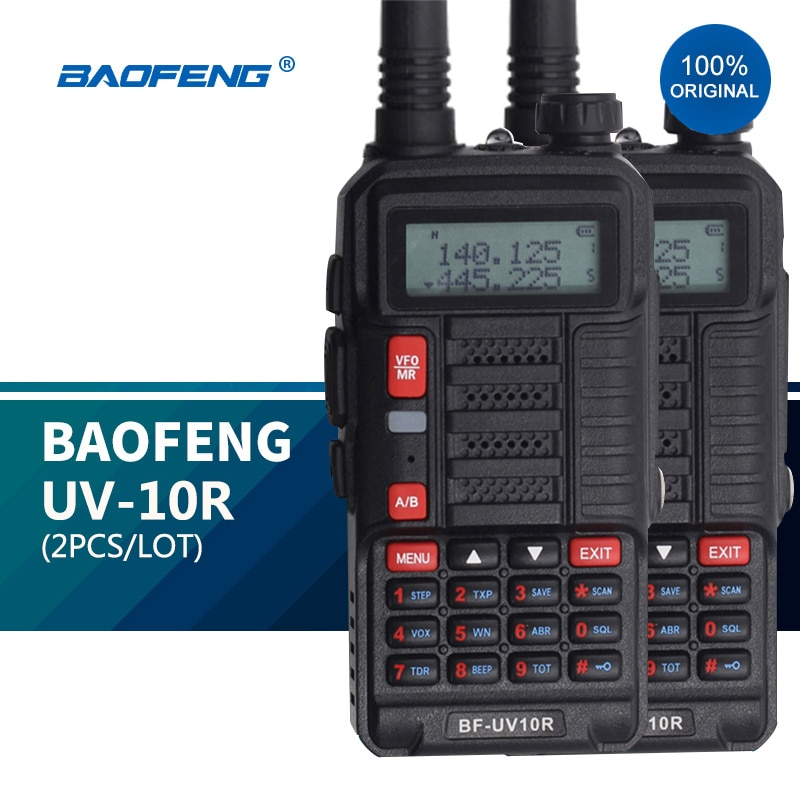 2PCS Baofeng UV 10R Professional Walkie Talkies High Power 10W Dual Band 2 way CB Ham Radio hf Trans
