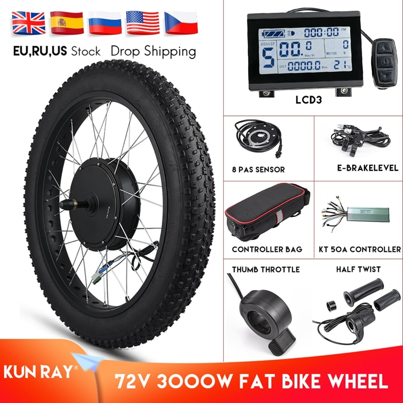 Kunray Electric Fat Bike Motor Wheel 72V 3000W Hub Motor Kit Ebike Conversion Kit Snow Bike Kit Non Gear Hub motor Wheel 55-70KM