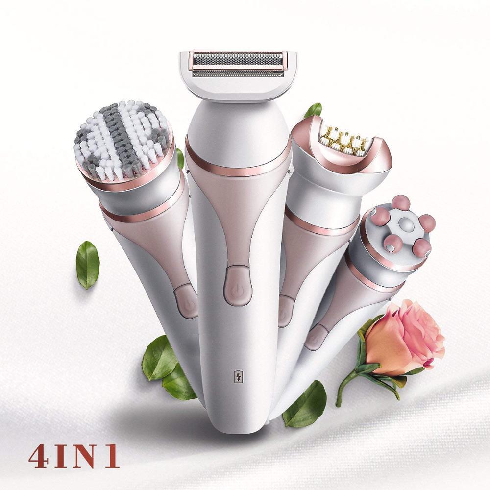 جهاز العناية بالوجه قابلة للشحن العناية بالبشرة مجموعة مقاوم للماء الحلاقة فرشاة تنظيف الوجه مدلك ماكينة إزالة الشعر الكهربائية لنزع الشعر