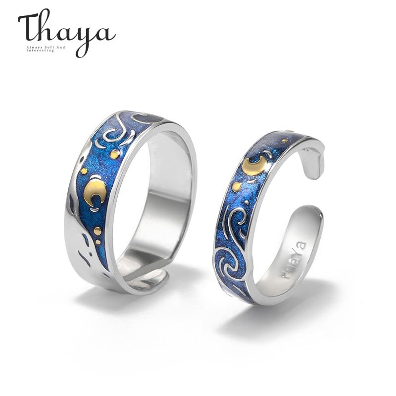 Женское кольцо Thaya, серебряное кольцо с эмалировкой в виде неба, звезд, лун, s925