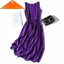 Dress Women Summer Real Silk Purple Female Long Floral Vintage Vestidos Korean Beach Evening Party Dresses A6842