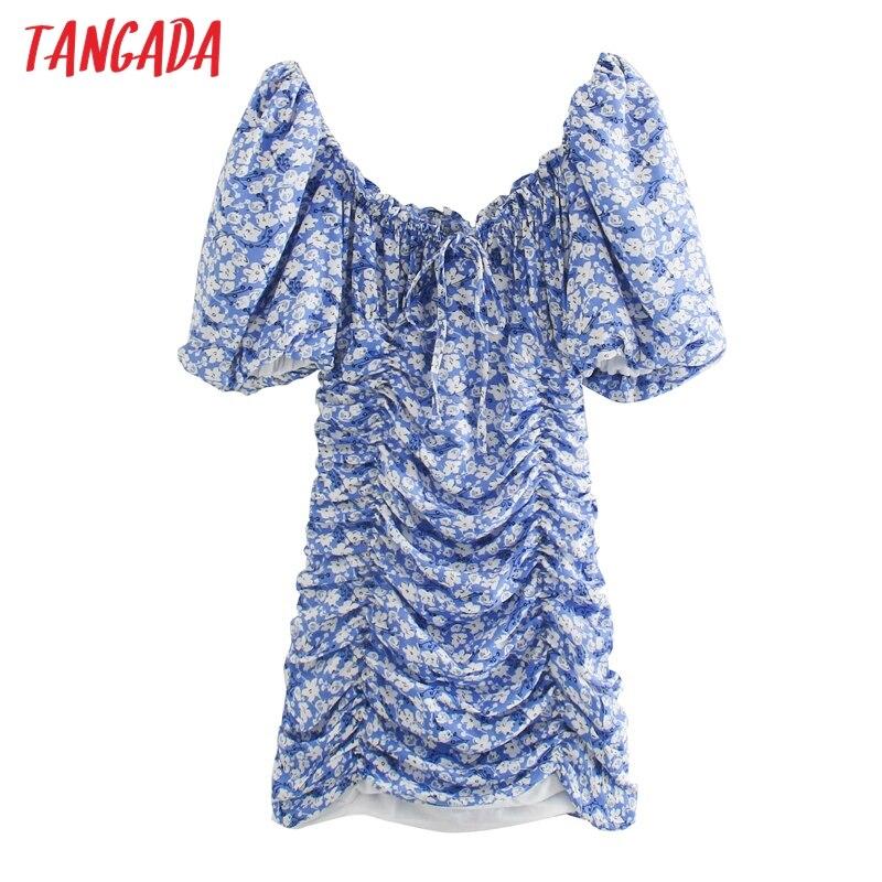 Tangada mulheres print floral vestido curto v neck puff manga curta 2020 mulheres sensuais vestidos partydresses 3H702