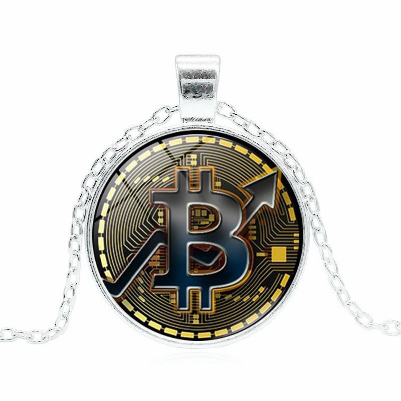 Necklace Product Bitcoin Mark Time Gem Glass Pendant Sweater Chain Simple and Elegant Delicate Acces