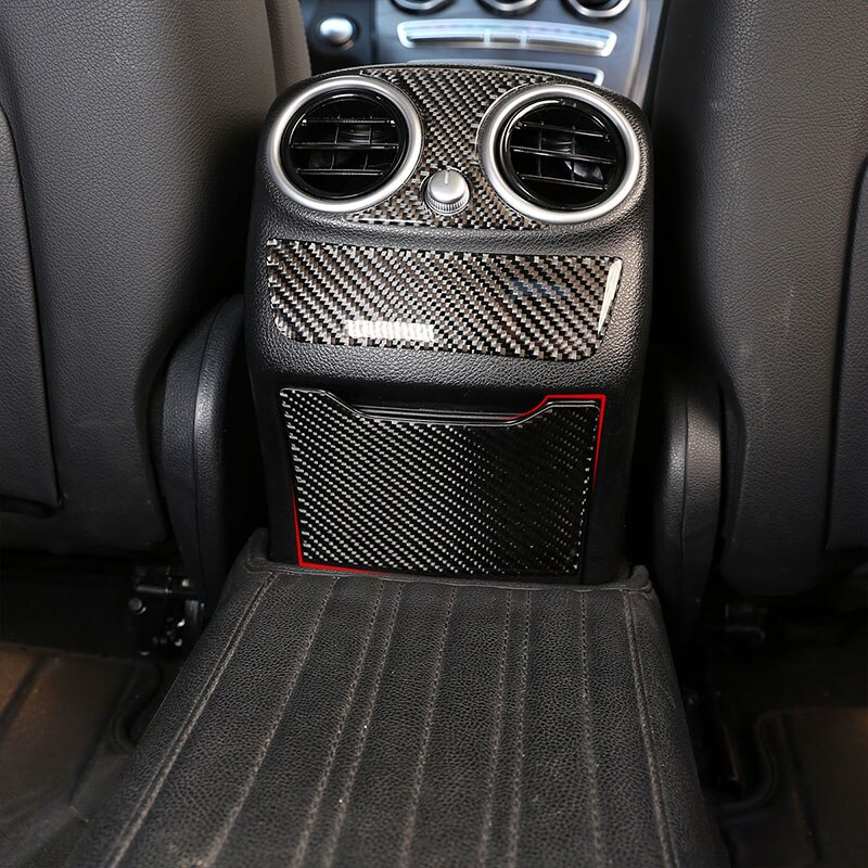 For Mercedes Benz C Class W205 C180 2016-2019 Carbon Fiber Rear ashtray anti-kick panel 3D Interior Sticker Accessories
