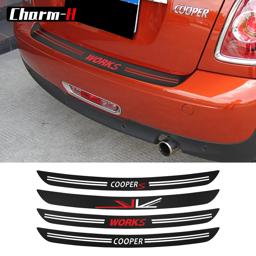 5D углеродного волокна винил заднего бампера багажника протектор Защита отделка наклейки для MINI Cooper S JCW R56 кабрио R57