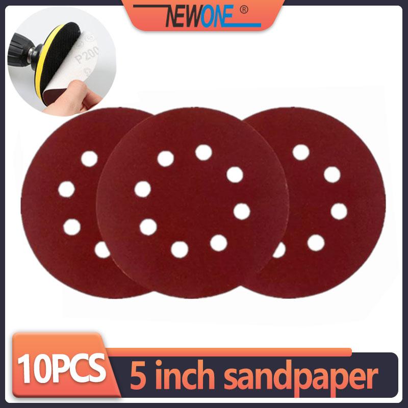 """10vnt 125mm 5 """"kablio kilpos šlifavimo popierius su 8 skylių smėlio pagalvėlėmis 40-3000 smėlio šlifavimo diskų šlifavimo priemonės lenkų mašinai"""
