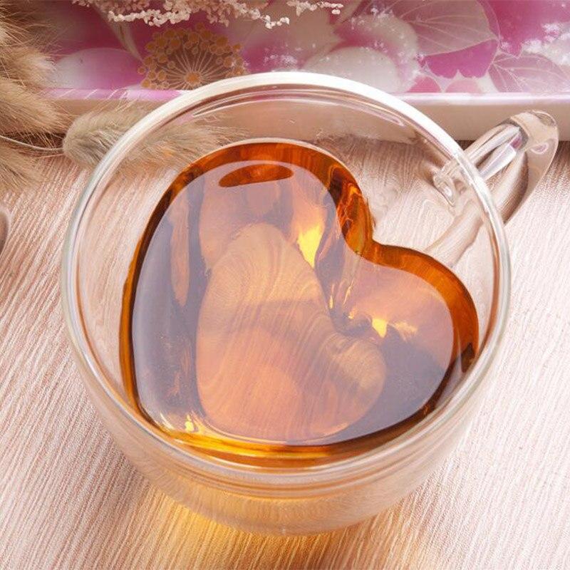 Taza de cristal en forma de corazón de amor, taza de leche, jugo de limón, vasos para pareja, taza de vidrio de doble pared, vasos de chupito de té resistentes al calor
