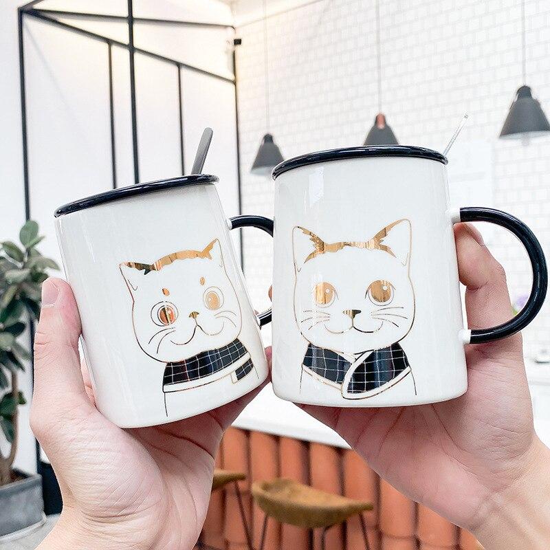 Cartoon Cat Ceramic Mug Creative Breakfast Cup with Lid Spoon 400ml Large Capacity Household Milk Cereal Mugs Juice Drinking Cup