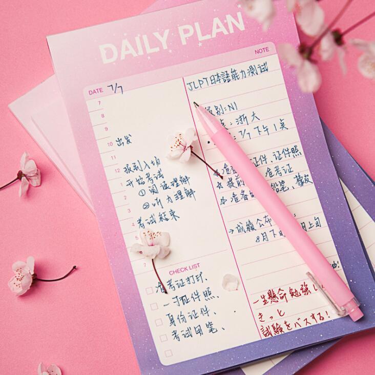 2020 bonito céu romântico 50 folhas a6 organizador de mesa almofada almofadas de memorando nota diária para fazer lista de verificação planejador papelaria escolar