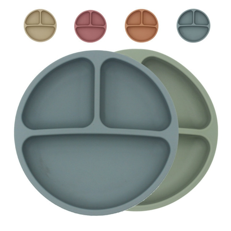 Baby Safe Silicone Dining Plate Solid Cute Cartoon Children Dishes Suction Toddle Training Tableware Kids Feeding Bowls