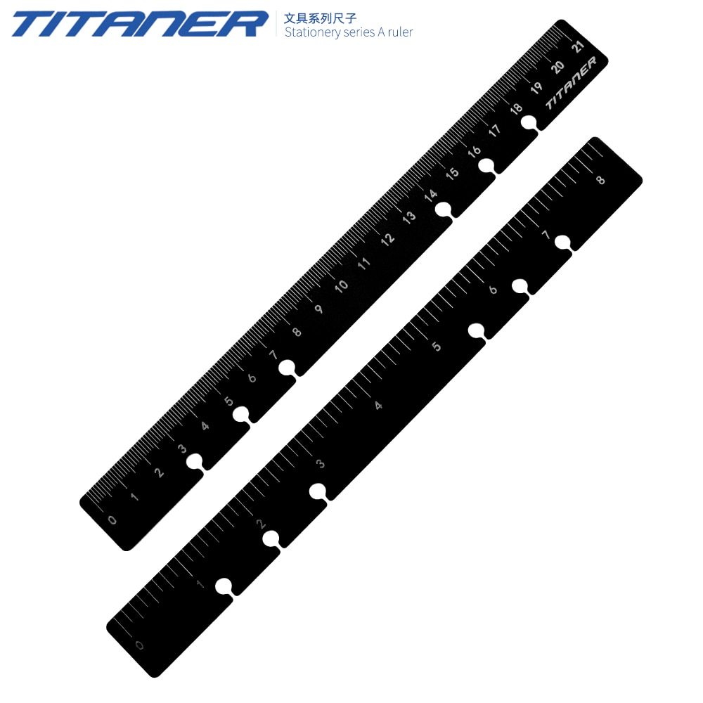 1 قطعة TITANER سبائك التيتانيوم التكتيكية حاكم EDC أداة قياس الإنجليزية وماتريك مزدوجة الجانب حاكم