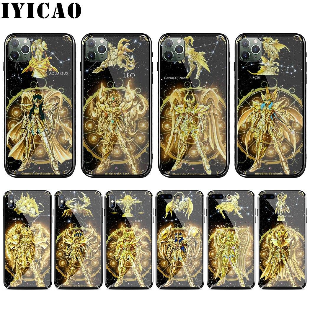 L53 Saint Seiya étui pour iphone en verre trempé 11 Por XS Max XR X 8 7 6 6S Plus 5 5S SE