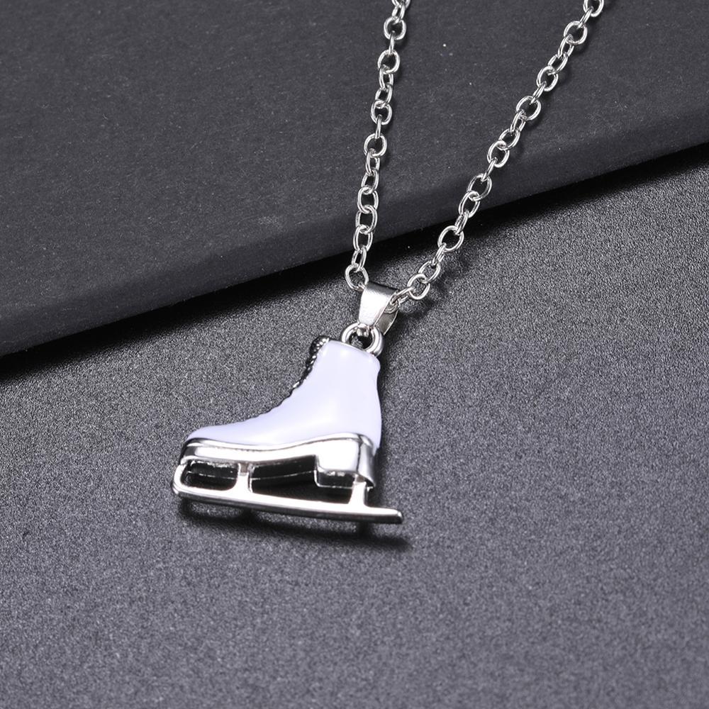 Женская обувь Skyrim, белая эмалированная подвеска на коньках, ожерелье с длинной цепочкой, подарок