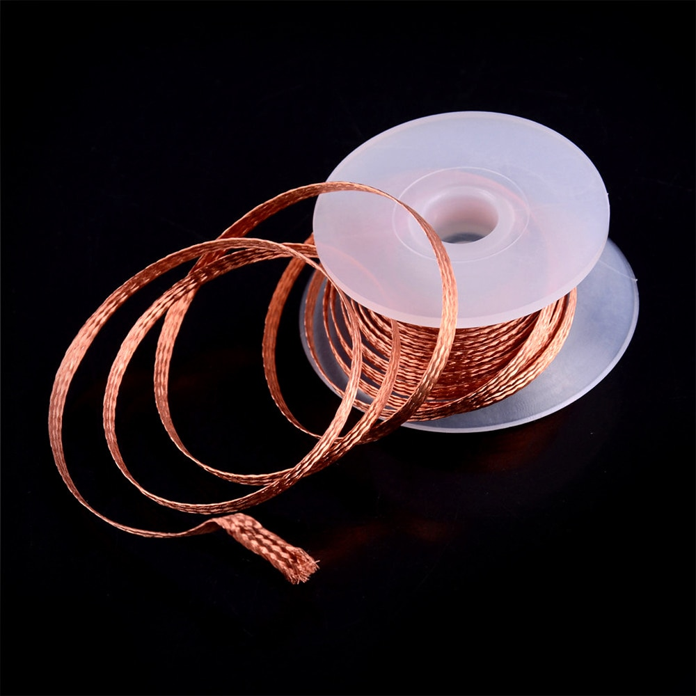 1 pièce 5mm 2mm 2.5mm 3mm 3.5mm 1.5M dessouder tresse dissolvant de soudure mèche fil BGA outil de réparation Flux de plomb