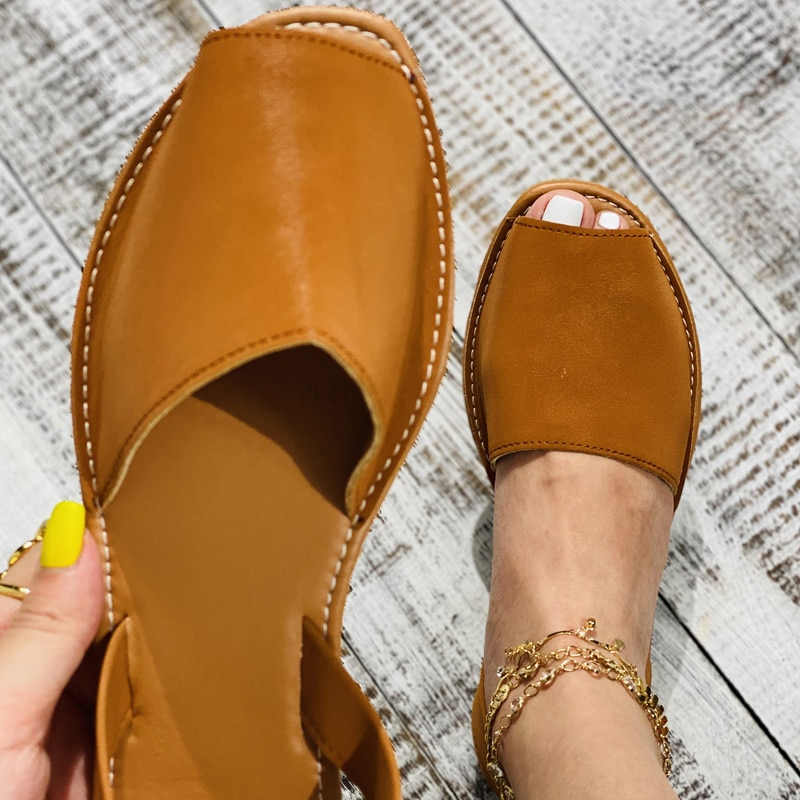 MCCKLE Summer Sandals Women Flats Female Casual Peep Toe Shoes PU Slip on Leisure Solid Sewing Footwear Two-piece Plus Size