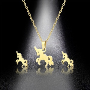 Stainless Steel Unicorn Horse Pony Shape Pendant Chain Necklace Sets Choker For Women Collier Femme Gold Korean Animal Jewelry