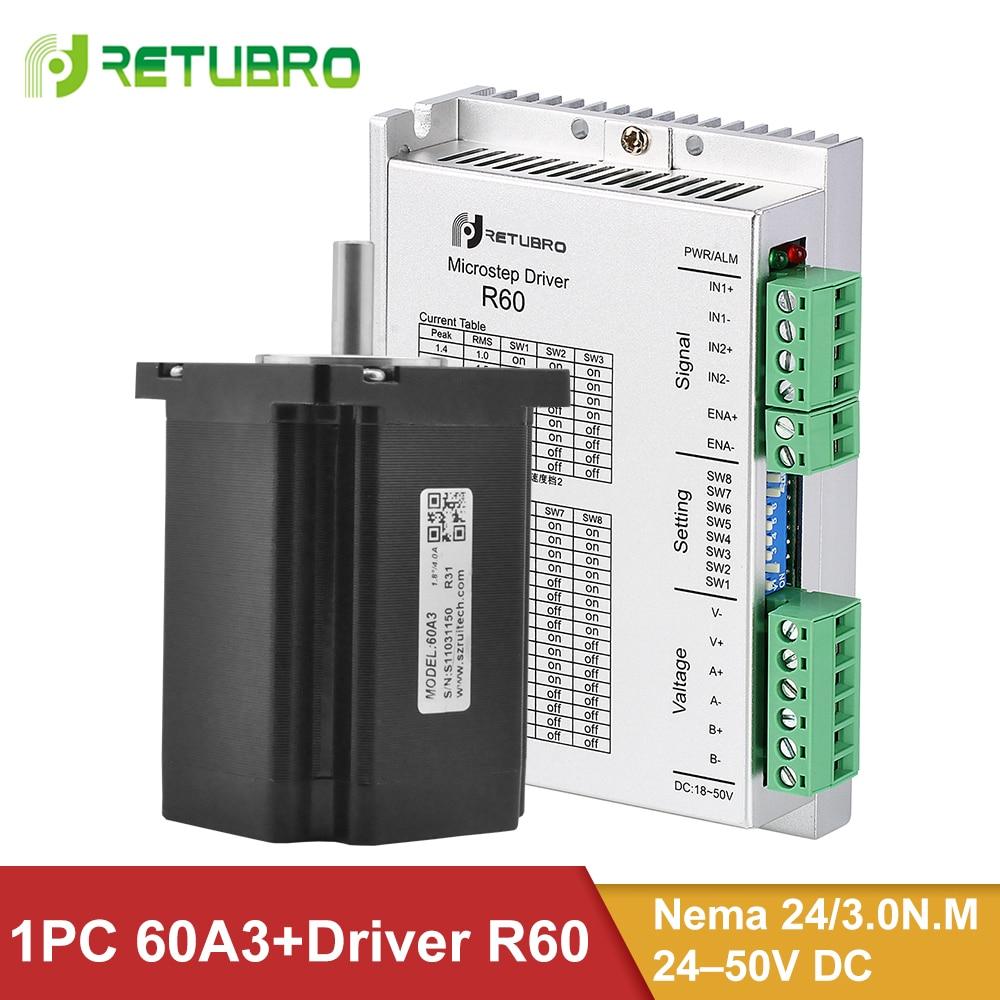 R60 + 60A3 Schrittmotor Fahrer Kit 1 Set Nema 23 24 Hybrid 3NM 4 Drähte 60*60 * 86mm 8mm Welle 24-50V DC Spannung für CNC Maschine