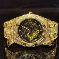 missfox hollow movement man watch mechanical gold full diamond hiphop rel%c3%b3gio masculino top brand luxury business wristwacth men