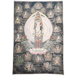 China Old Tibet Silk Thang Ka Like Hanging Painting Fengshui Avalokitesvara God Statue Portrait