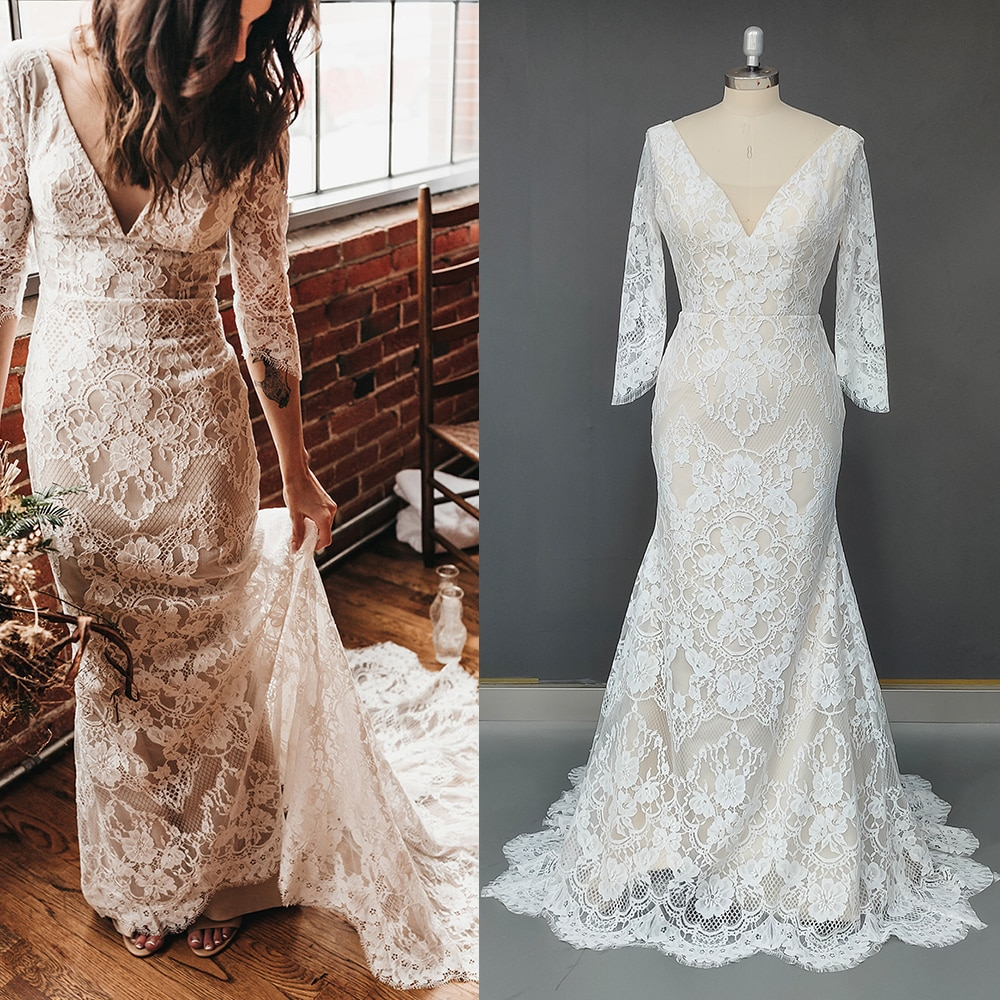 Review Rustic Lace Open Back Wedding Gowns V Neck Custom Made Garden Country Plus Size Three Quarter Sleeves Mermaid Bridal Dresses