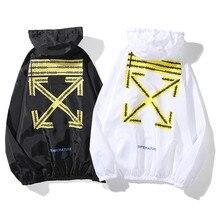 off white arrow light windbreaker outdoor cycling wear w cordon loose hip hop sunscreen coat