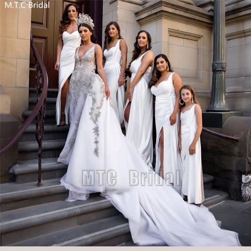 Long White Bridesmaid Dresses One Shoulder Side Slit Plus Size Elastic Satin Maid Of Honor Wedding Party Dress Robe De Soiree