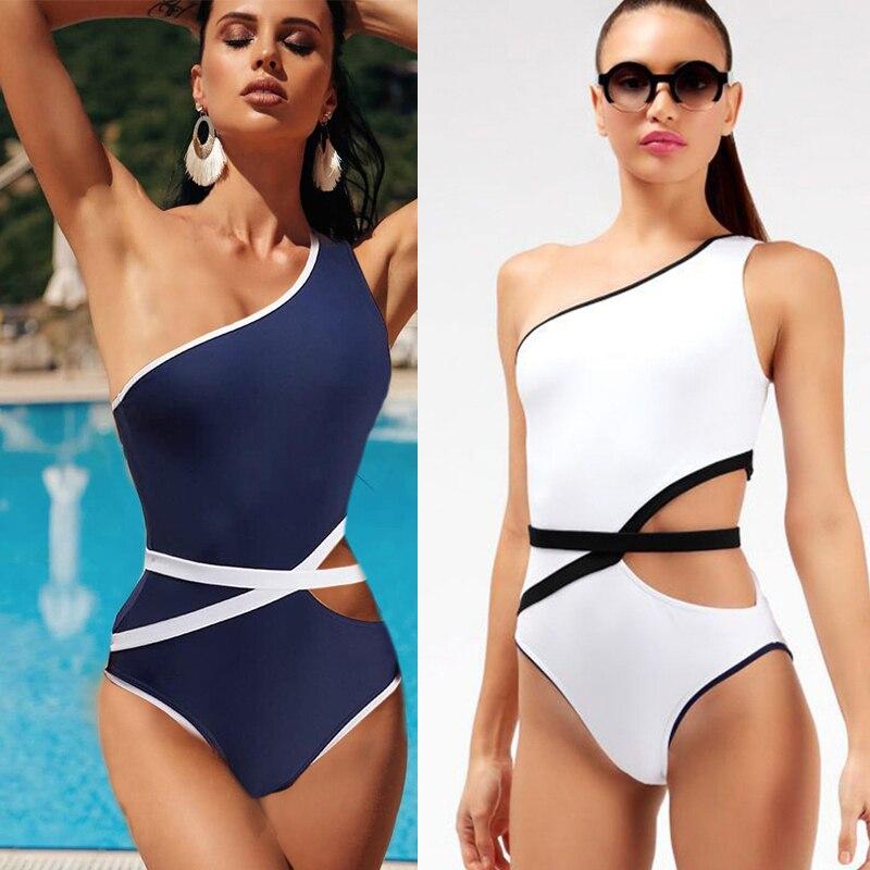 Biquinis blancos para mujer feminino 2020, traje de baño deportivo para mujer, conjunto de traje de baño sexy azul, bikinis de cintura alta económicos para mujer