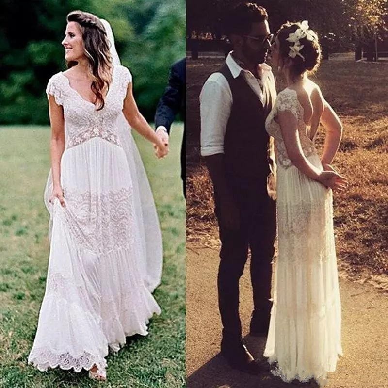 Vintage Boho Lace Wedding Dresses V Neck Bohemian Bridal Gowns A Line Floor Length Backless Country Dress Custom Made