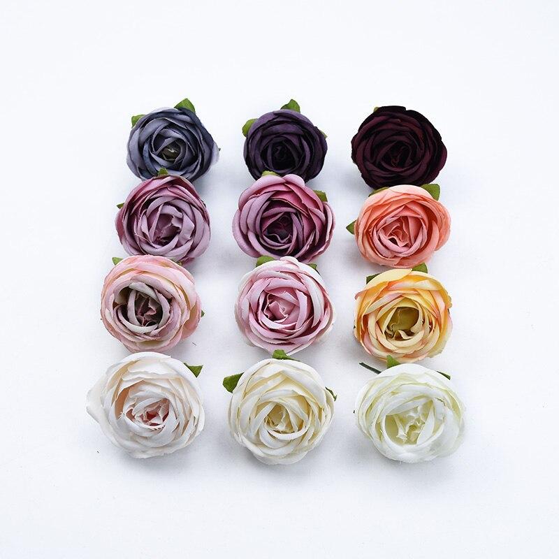 200 pièces soie roses bourgeon bricolage cadeaux boîte décoration de noël pour la maison de mariage fleur artificielle scrapbooking poignet fleur chapeaux