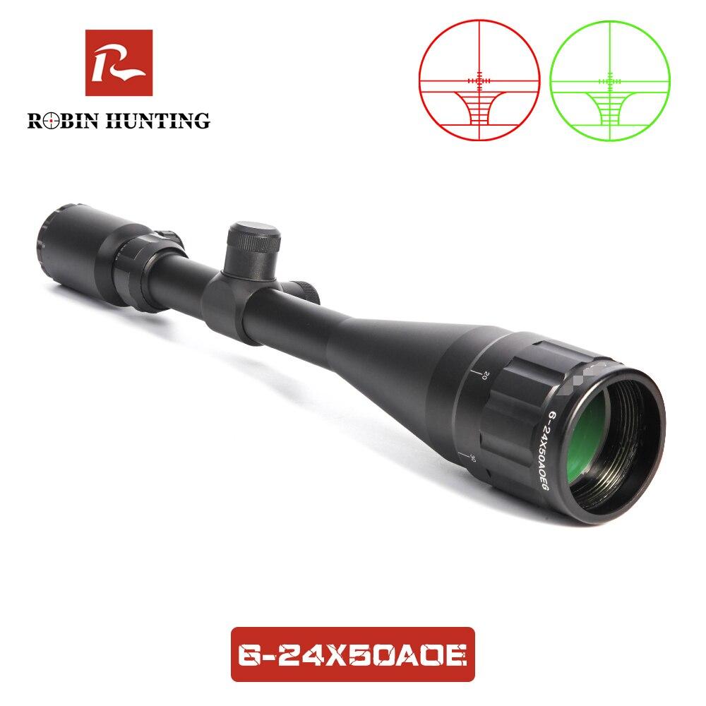 Охотничий прицел 6-24x50 AOE с 11 мм/20 мм рельсовым креплением красный и зеленый с подсветкой Оптический прицел для охоты