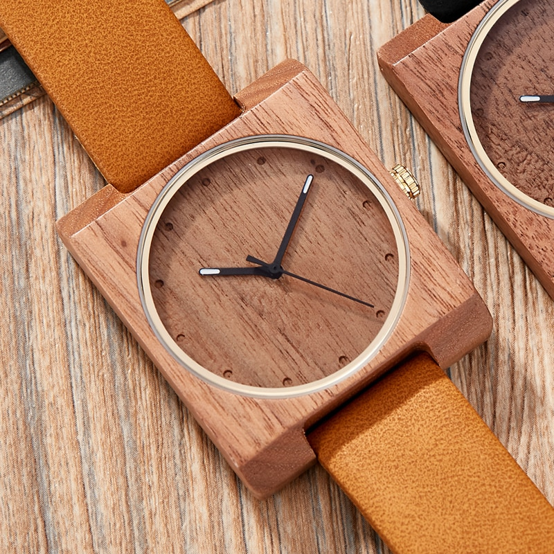 Wooden Watch Men Natural Lightweight Wood Watches Mens Quartz Watches Creative Square Dial Leather Wristwatches Clock Relogio black ink world map dial watch natural bamboo wood watch fashion casual leather men quartz analog round wristwatches clock male