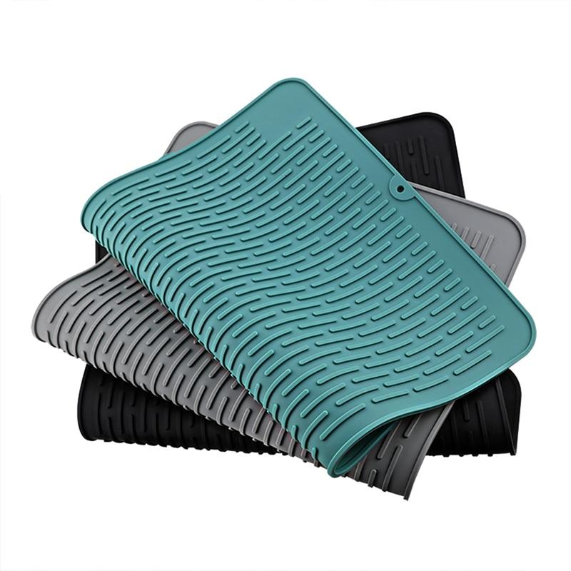 Esterilla de secado de silicona, Mantel Individual plegable antideslizante, vajilla, almohadilla de desagüe de silicona, estera de olla de aislamiento, accesorios de cocina, herramienta, 45x40cm