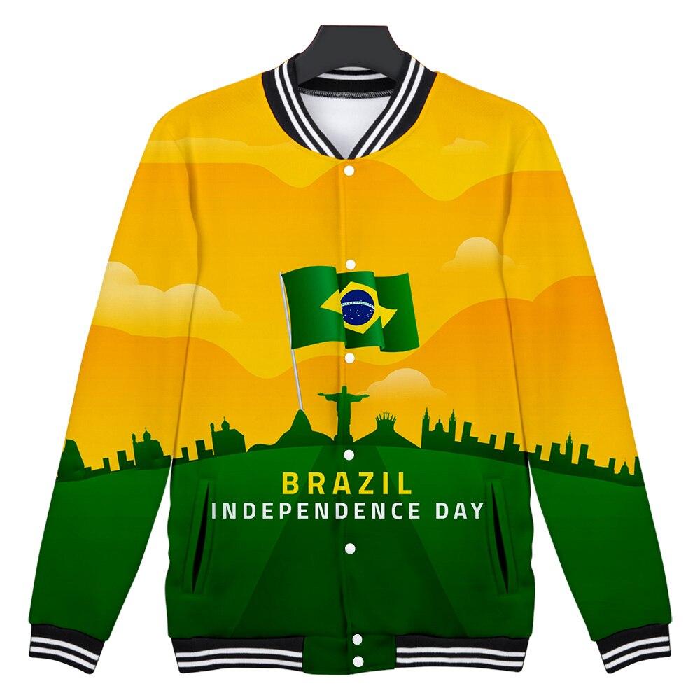2020 nueva chaqueta Harajuku 3D con cuello en V sudadera Streetwear chaqueta de béisbol de un solo pecho Brasil Día de la independencia moda fresca
