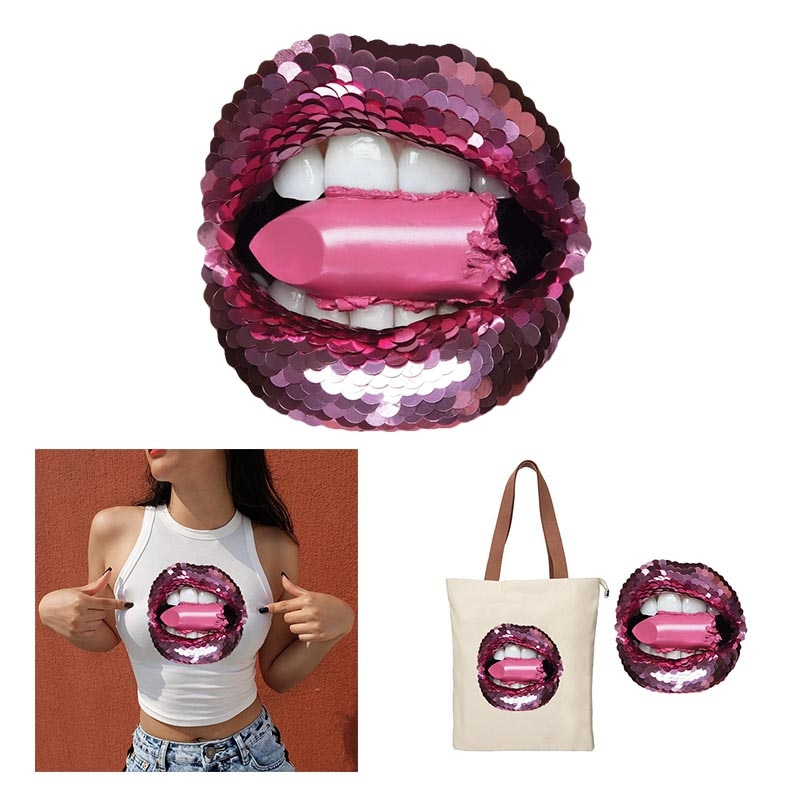 Sexy Rosa labios parches DIY en la ropa planchado en transferencia de calor pegatinas de impresión para la ropa T-shirt Appliques lavable