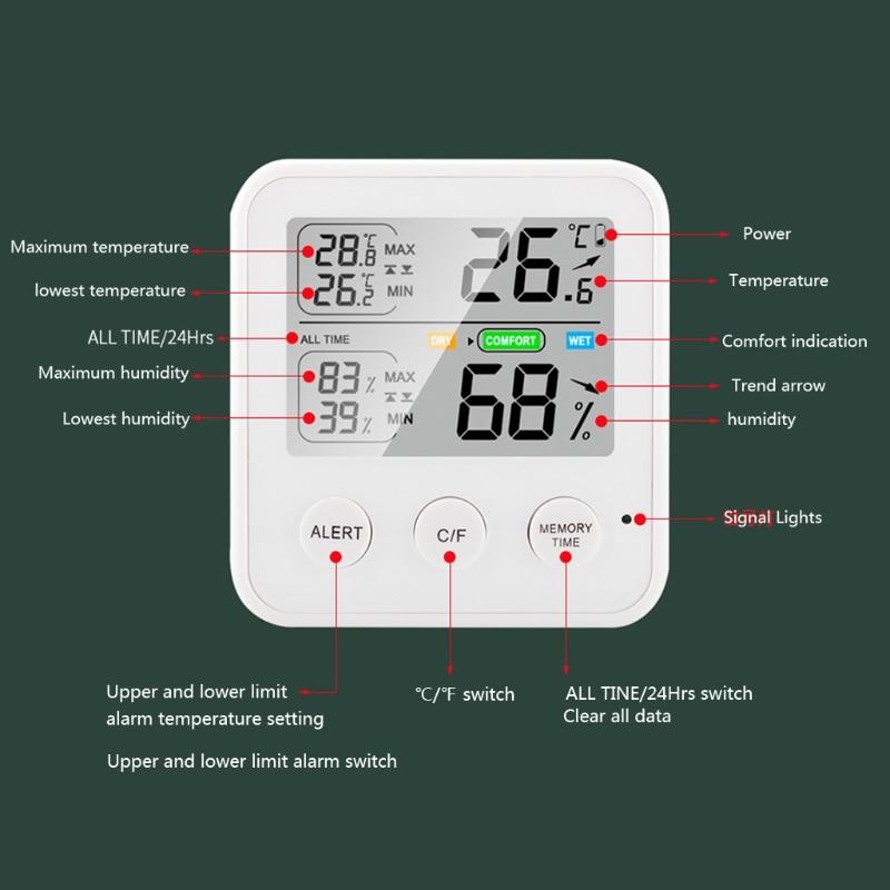 2021 New Indoor Hygrometer Thermometer, Digital Humidity Monitor, Temperature Humidity Gauge Meter, with  LCD Display pet thermometer hygrometer round digital lcd display temperature humidity monitor