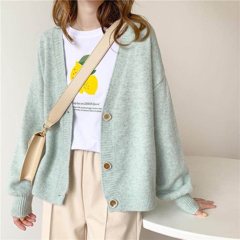 Осенне-зимний женский свитер, кардиганы оверсайз с V-образным вырезом, вязаные кардиганы, верхняя одежда для девочек, корейские шикарные топ...