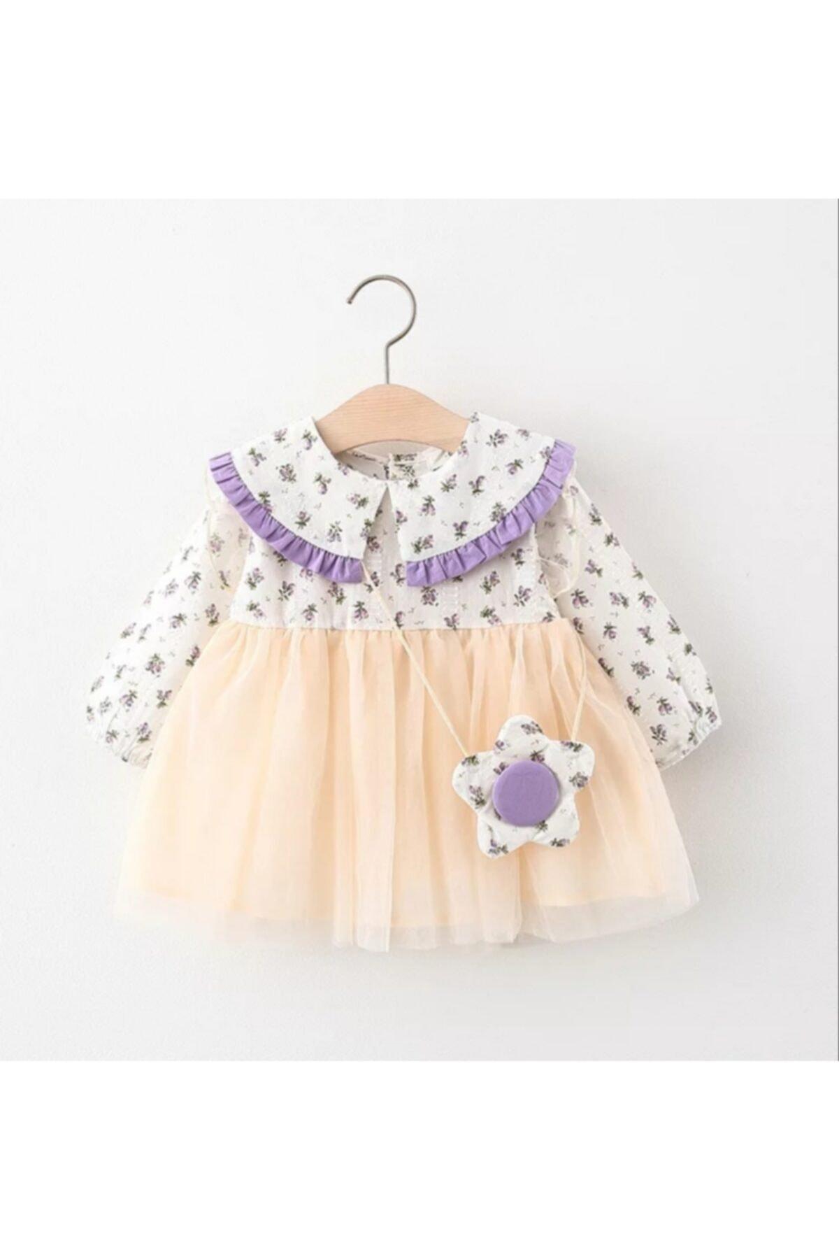 Bolso de flores púrpura para vestido, con botones, estándar Regular, algodón, doble...