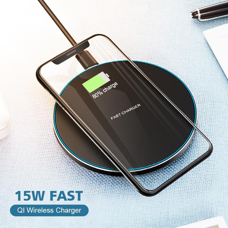 Carregador sem fio qi 15w para iphone, carregamento rápido para iphone 11, pro, max, xs max, 8 plus, xr, x, samsung s10 s9 huawei p30 pro estação de carregamento