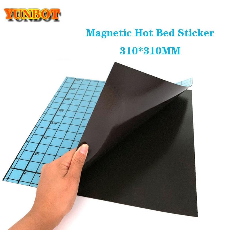 1set 3D piezas de impresora azul cinta de cama de impresión magnética cuadrado 310*310mm coordenada etiqueta impresa cinta de construcción placa flexible placa Hotbe