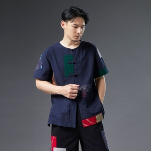 New Patch Short-sleeved Summer 2021 Loose Cotton Linen Casual T-shirt Disc Button Cardigan Short-sleeved Men Clothing