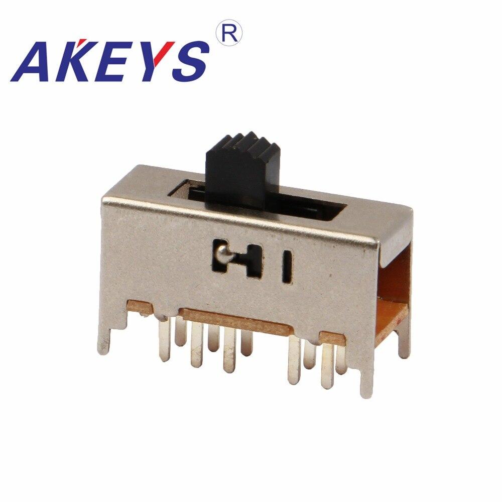 10PCS SS-24H01 2P4T Duplo pólo quatro posições interruptor lance 4 10 pin DIP tipo com 4 pino fixo lidar com alturas