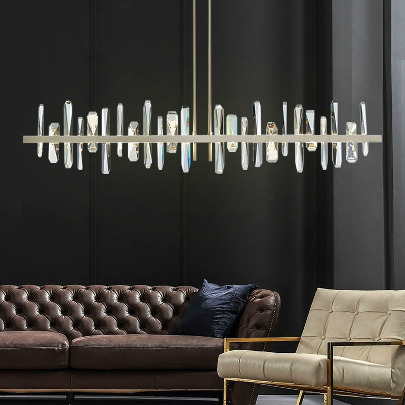 Light luxury post modern crystal restaurant led chandelier simple luxury villa decoration Nordic modern bar chandelier lighting