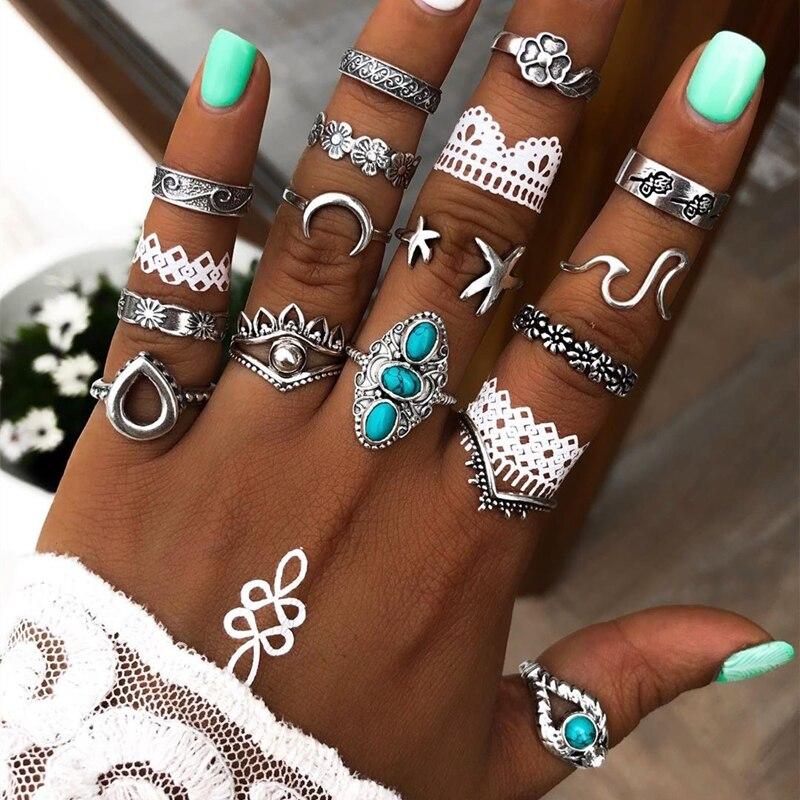 Tocona, 15 unids/set, anillo Vintage antiguo de plata con forma de luna para mujeres, hombres, diamantes de imitación azules, estrella de mar, gota de agua, joyería 14564