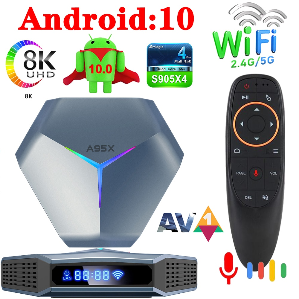 A95X F4 Amlogic S905X4 مربع التلفزيون الذكية أندرويد 10 4K HD يوتيوب 5G واي فاي RGB ضوء 2021 عالية الأداء سوبر سرعة فك التشفير