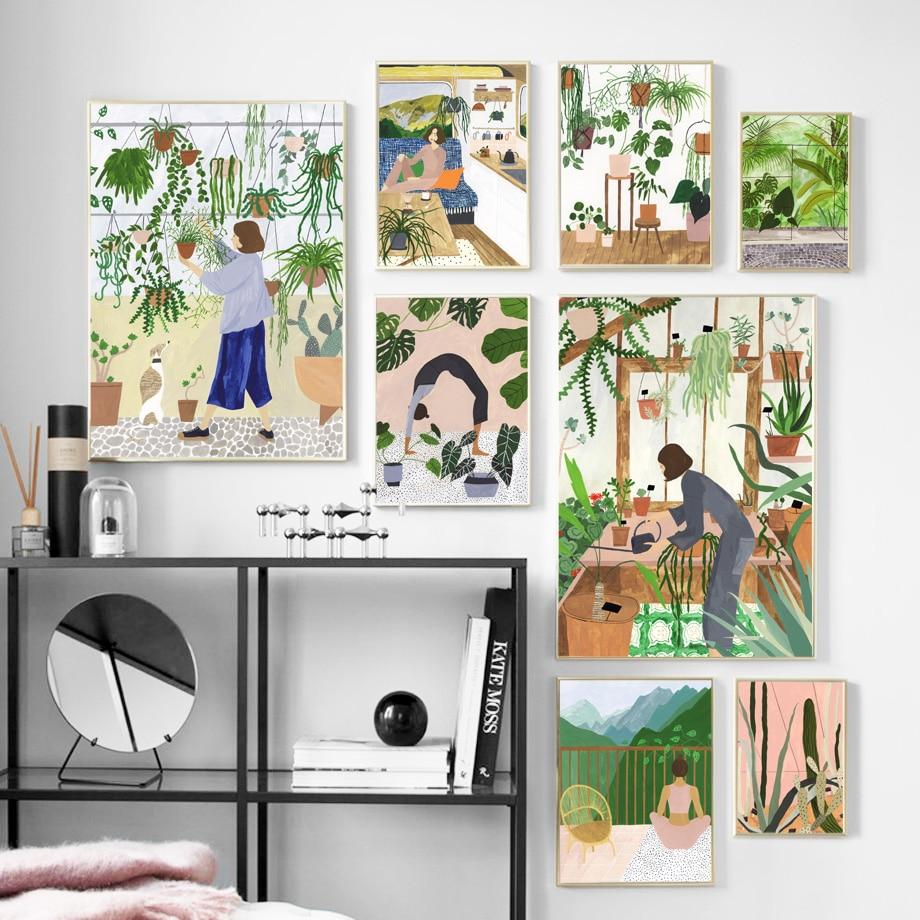 Arte abstracto de la pared de la muchacha de la manera que pinta el cartel nórdico y la pintura de la decoración de la sala de estar de la impresión w