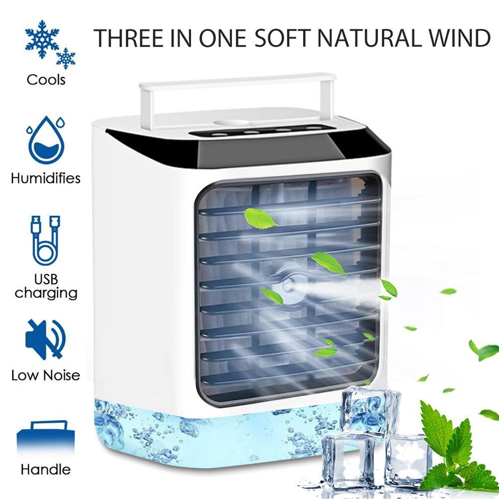 Mini ventilador de aire acondicionado 3 en 1 para espacio Personal, Enfriador de aire, Enfriador de agua, ventilador portátil, humidificador, aire fresco para oficina en casa